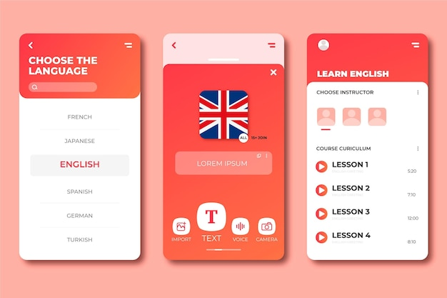 Interface for learning new languages application