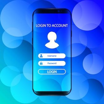 Interface. log in to account in smartphone.