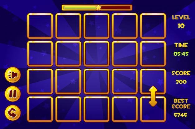 Интерфейс match3 игры и кнопки, игровые активы