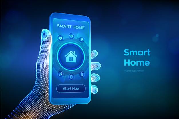 仮想画面上のスマートホームオートメーションアシスタントのインターフェイス。自動制御システムのコンセプト。ワイヤーフレームの手でスマートフォンをクローズアップ。