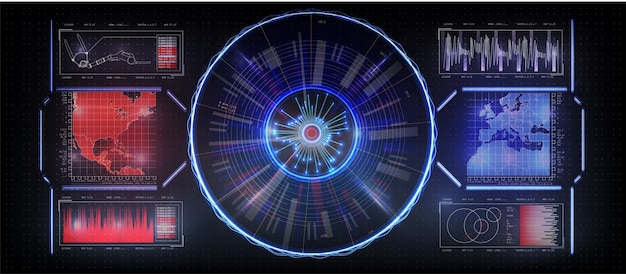 Интерфейс будущего, установленный интерфейс инструмента. hud-дисплей. противостояние государства на карте.