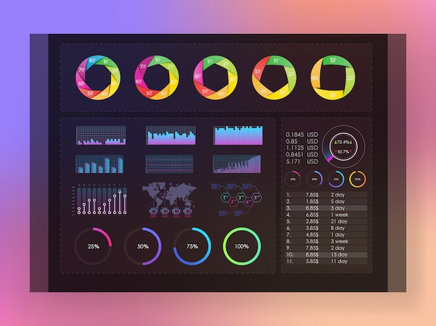 Interface screen with colored infographic digital illustration. colored infographic
