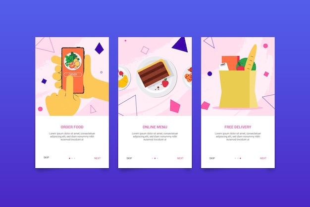 Interface screens for food delivery