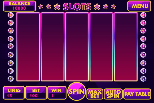 Interface slot machine in purple colored. complete menu of graphical user interface and full set of buttons for classic casino games creation.