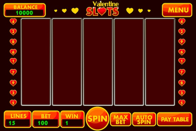 Interface slot machine style st.valentine in red colored. complete menu of graphical user interface and full set of buttons for classic casino games creation.