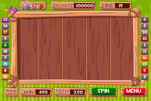 Interface slot machine in wooden style for easter holiday. complete menu of graphical user interface and full set of buttons for classic casino games creation.