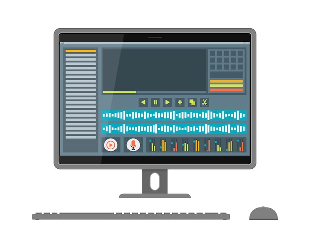 Interface of sound and video editor on screen
