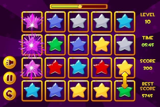 Интерфейс star match3 games. разноцветные звезды, значки игровых активов и кнопки
