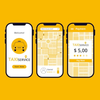 Interface of taxi app