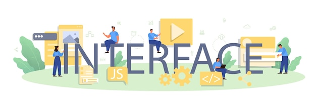 インターフェイスの活版印刷ヘッダー。ウェブサイトのインターフェースデザインの改善。