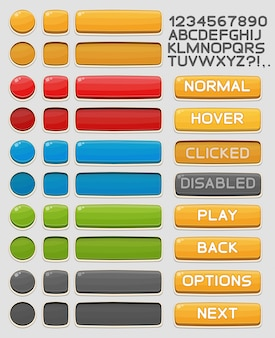Interface vector buttons set for games and apps