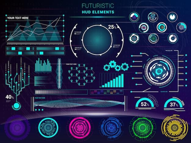Interface vector interfaced spacepanel and hud dashboard futuristicwith interfacing hologram technology on digital bar interfacial screen on spaceship illustration