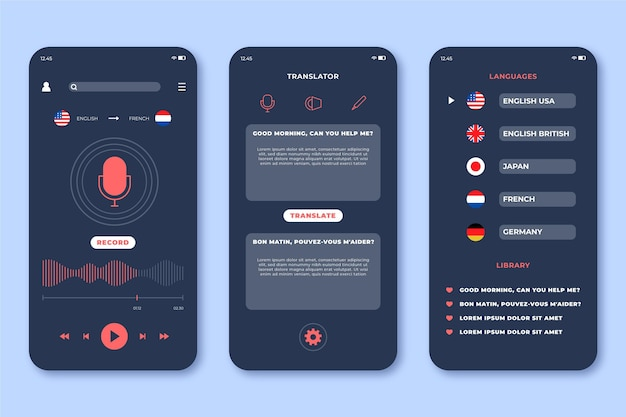 Interface for voice translator application