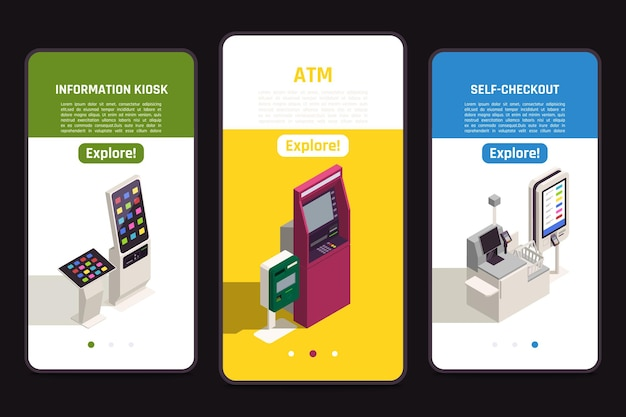 Interfaces banners set with digital information board self checkout counter and atm 3d isometric isolated