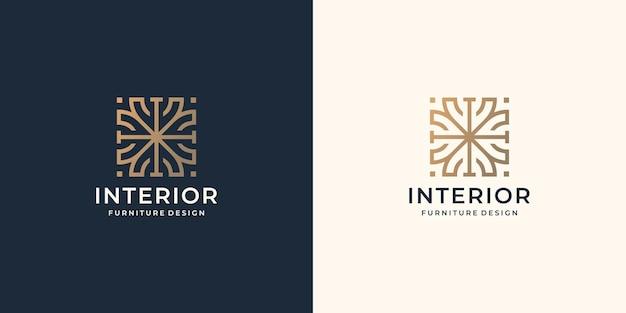 ミニマリストのラインアートスタイルのデザインテンプレートと正方形のコンセプトのインテリア抽象的なロゴ。