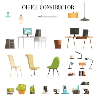 Interior accessories cartoon style icons set