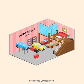 Interno del negozio di riparazione auto in stile isometrico