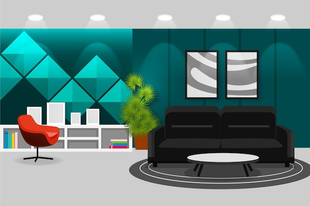 Interior background for conferencing
