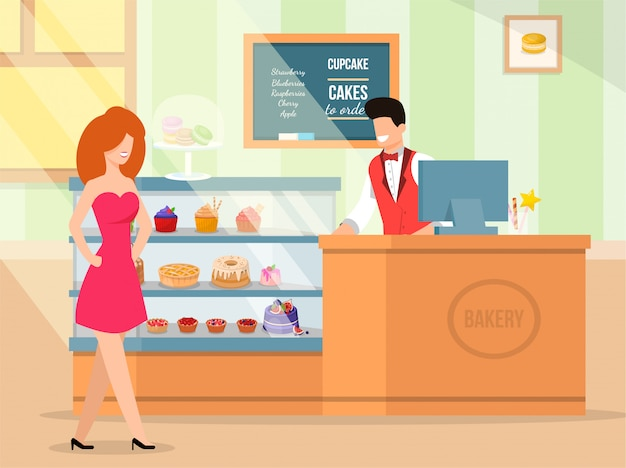Interior and bakery service vector illustration.