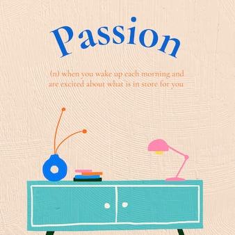 Vettore del modello dell'insegna interna con lo stile disegnato a mano del testo di passione
