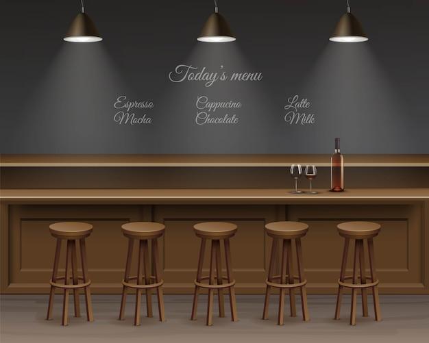 Interior of bar, counter desk.