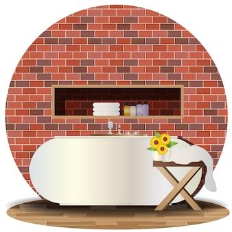 Interior bathroom elevation with background