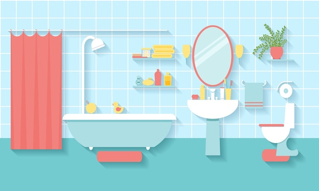 Bagno interno in stile piatto. specchio e wc, lavabo e mobili.