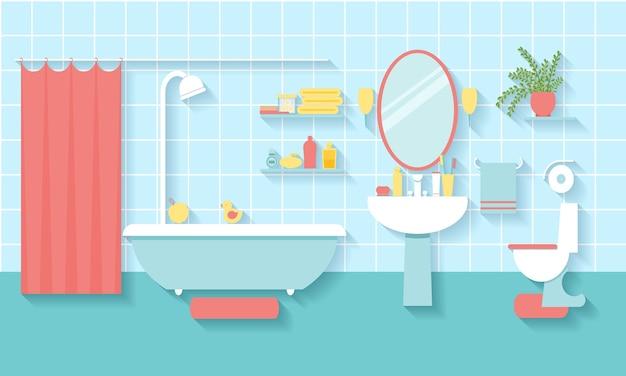 フラットスタイルのインテリアバスルーム。鏡とトイレ、洗面台と家具。