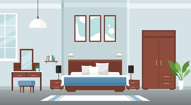 Интерьер спальни красочный плоский дизайн концепции