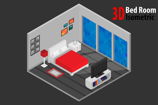 Interior bedroom design with bed and accessory