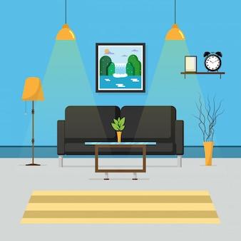 Interior of blue living room.