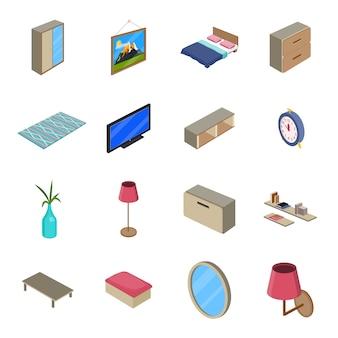 Интерьер мультфильм значок набор, интерьер комнаты.