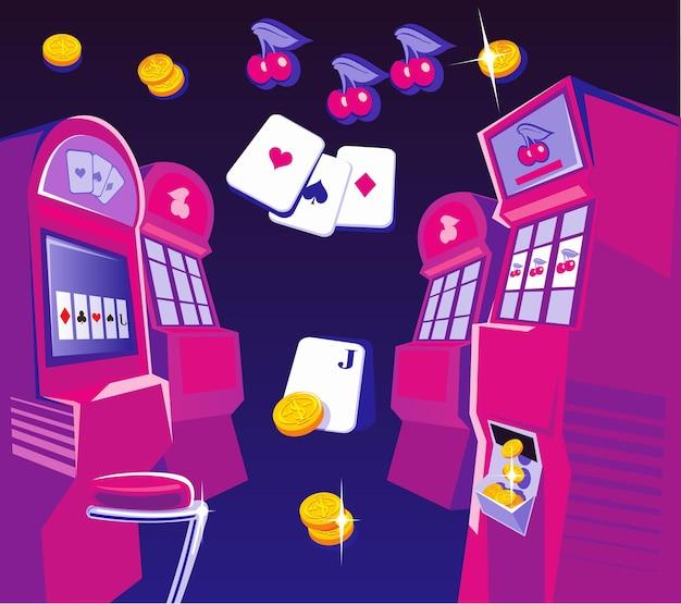 Интерьер казино игровые автоматы стулья золотые монеты концепция дизайна для азартной удачи
