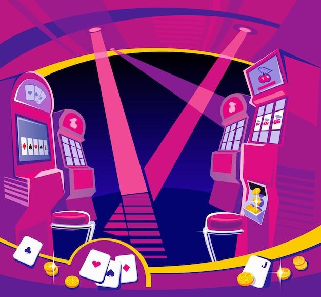 Интерьерные игровые автоматы казино стулья световые проекторы золотые монеты игральные карты летать азартные игры