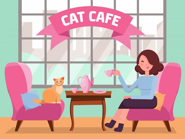 Interior of cat cafe with large window, woman and kitty in comfortable arnchairs, coffee on table. girl and cat tea party. spending time with pet. flat cartoon vector illustration in mint pink colors