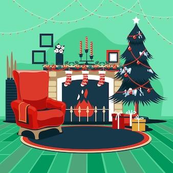 魔法の輝くクリスマスツリーの暖炉とギフトとインテリアクリスマス