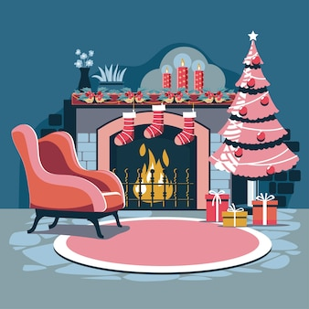 Interior christmas with magic glowing christmas tree fireplace and gifts