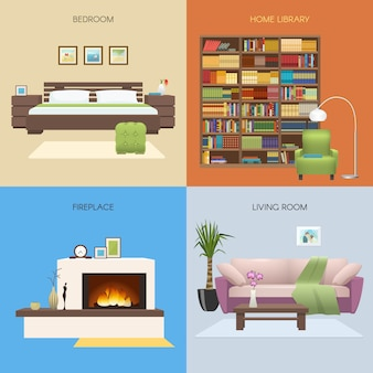 Interior colored compositions with bedroom and home library fireplace and comfortable lounge isolated vector illustration