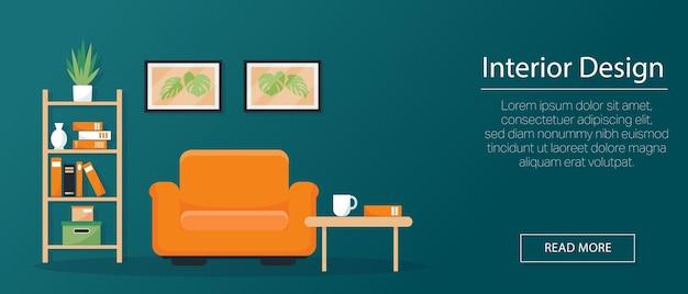 인테리어 컨셉, 배너 또는 배경. 안락 의자, 책장 및 벽에 그림이 멋지게 장식되어 있습니다. 삽화