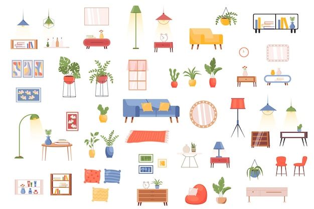 Interior decor bundle of flat scenes creator kit