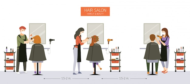 ヘアサロン、ビューティーサロン、お客様のいる理髪店、美容院、家具、設備の内装