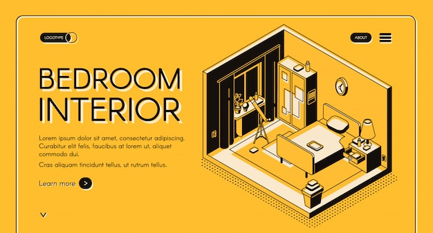 Interior design atelier, furniture online store isometric vector web banner or landing page.