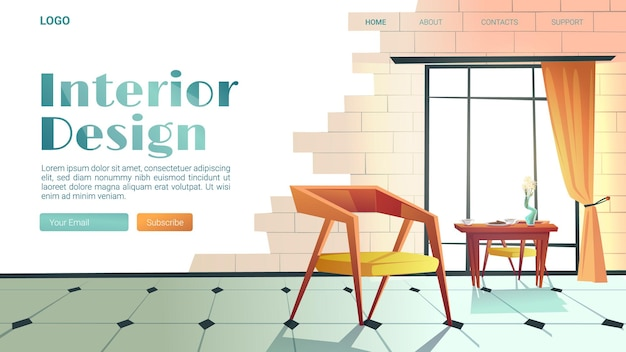 Interior design banner with trendy style of house