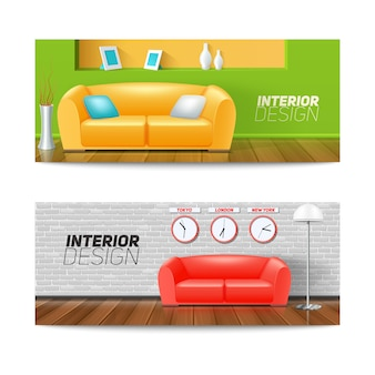 Interior design banners set with sofa clock and vase