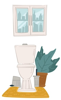Interior design of bathroom at home, toilet and decorative houseplant with lush leaves. cabinet with cosmetics and mirror. washroom with minimalist space, modern lavatory. vector in flat style