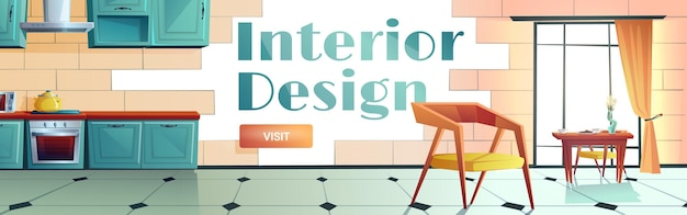 Interior design cartoon web banner.