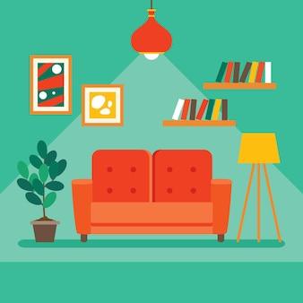 Interior design concept with flat furnitures