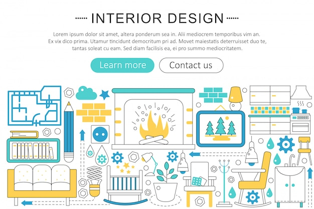 Interior design decor flat line concept