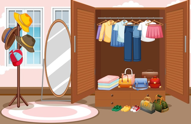 Interior design of dressing room background