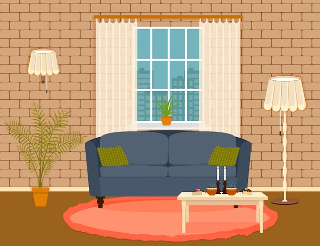 Interior design in flat style of living room with furniture, sofa, , table, houseplant, lamp and window.